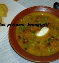 Žirnių sriuba su šviežiais (šaldytais) žirneliais
