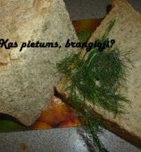 Naminė duona su krapais ir svogūnais, kepta duonkepėje