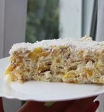 Krekerių tortas su persikais ir želė