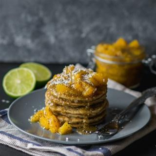 Kokosiniai kynvos blynai su apelsinų džemu