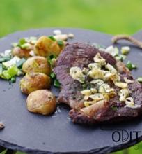 jautienos steikas su česnako traškučiais