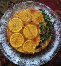 Apverstas apelsinų pyragas
