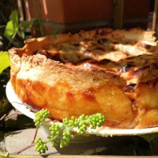 Kreminis rabarbarų ir bananų pyragas