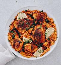 Vieno puodo ryžiai su vištiena ir Chorizo