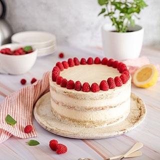 Pilno grūdo miltų tortas su avietėmis