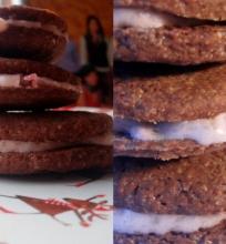 Šokoladiniai sausainiai su rožiniu sūrio pertepimu