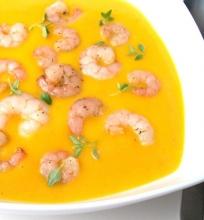 Trinta morkų sriuba su krevetėmis