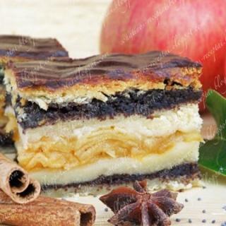 Gerbeaud (Žerbo) pyragas su obuoliais ir aguonomis