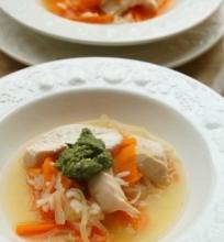 Vištienos, daržovių ir ryžių sriuba
