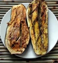 Pesto ir tahini baklažanai