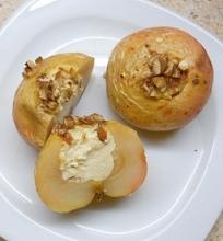 Kepti obuoliai įdaryti varške